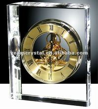 Arrival biggest crystal glass table clock for business given way(R-1232