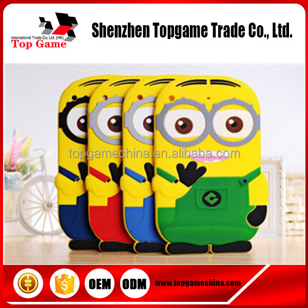 3D Cute Cartoon Despicable Me 2 Minion 3D Soft Silicone Case For iPad mini mini 2 mini 3