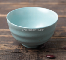 Matte glaze light blue solid color ceramic rice bowl