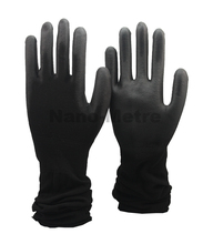 NMSAFETY light black nylon coated black PU gloves with extra long cuff