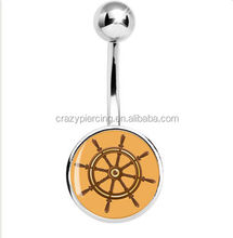 hot sale Fashional flesh india fake navel rings Take the Helm Wooden Ship Wheel Belly Ring