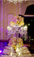 5 arms crystal candelabras centerpieces for wedding table with hanging drops