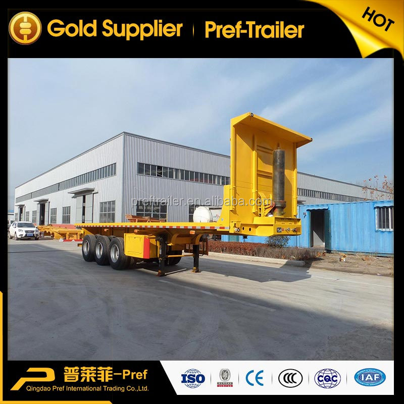 3 axles 40ft tipper container trailer/ flatbed container tipper semi trailer with high front fence
