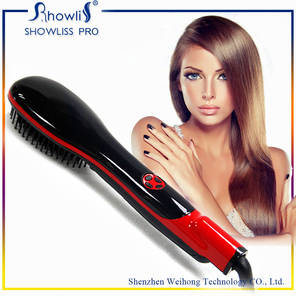 Fast Detangling Straighter Brush with Mini Ionic Hair Straightener Brush