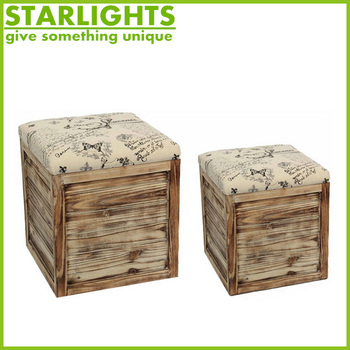 PVC leather fancy stool ottoman foldable with nice printing
