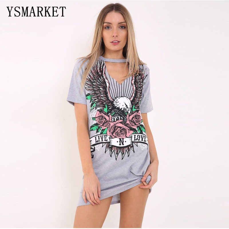 New Arrival 2018 Summer Club Women's <strong>Fashion</strong> Cotton Short sleeve 3D Printed Eagle Punk Style Rock DJ Dancer Stage Dress