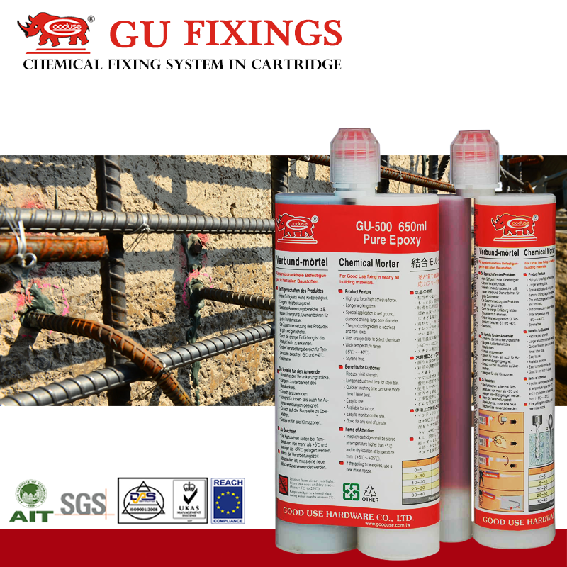 hollow block Post Installed Reinforcing Bars glues and adhesives