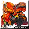 Custom 90 cm Silk Satin Digital Printing Soft Shinny Neck Scarf
