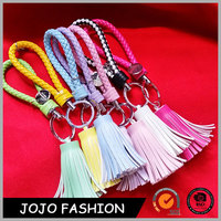 Wholesale Leather Braided Rope Tassel Keychain