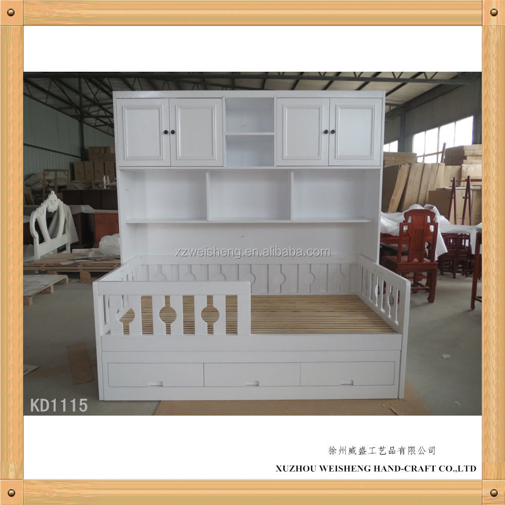 Simple Wooden Kid bed with storage rack