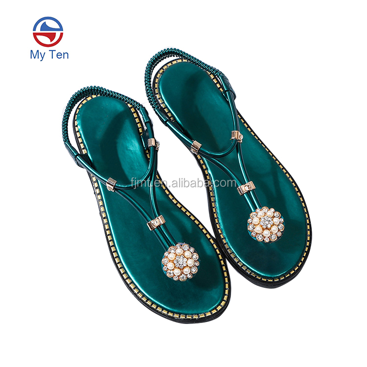 Rhinestone Ladies Shoes New Design Fashion Flat Summer Sandals