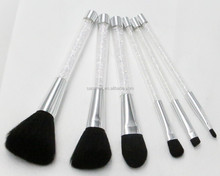 6pcs Silver makeup brush set soft synthetic hair with crystals