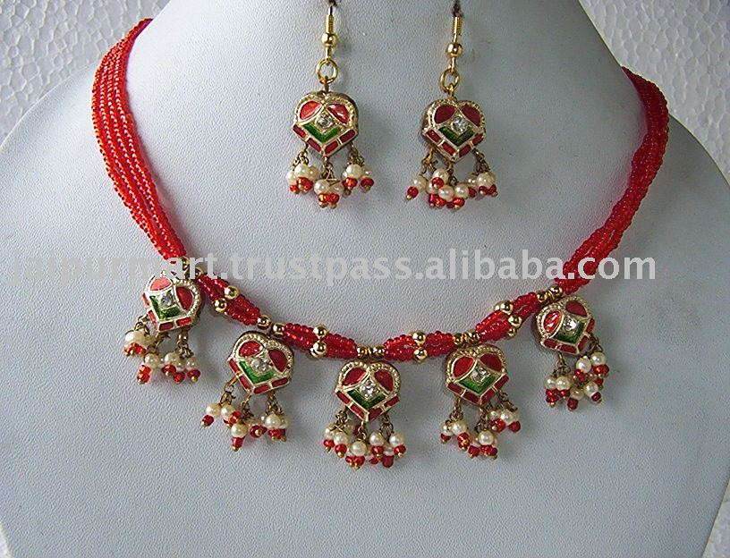 Indian fashion jewelry lakh / lac kundan meenakari necklace and earrings set