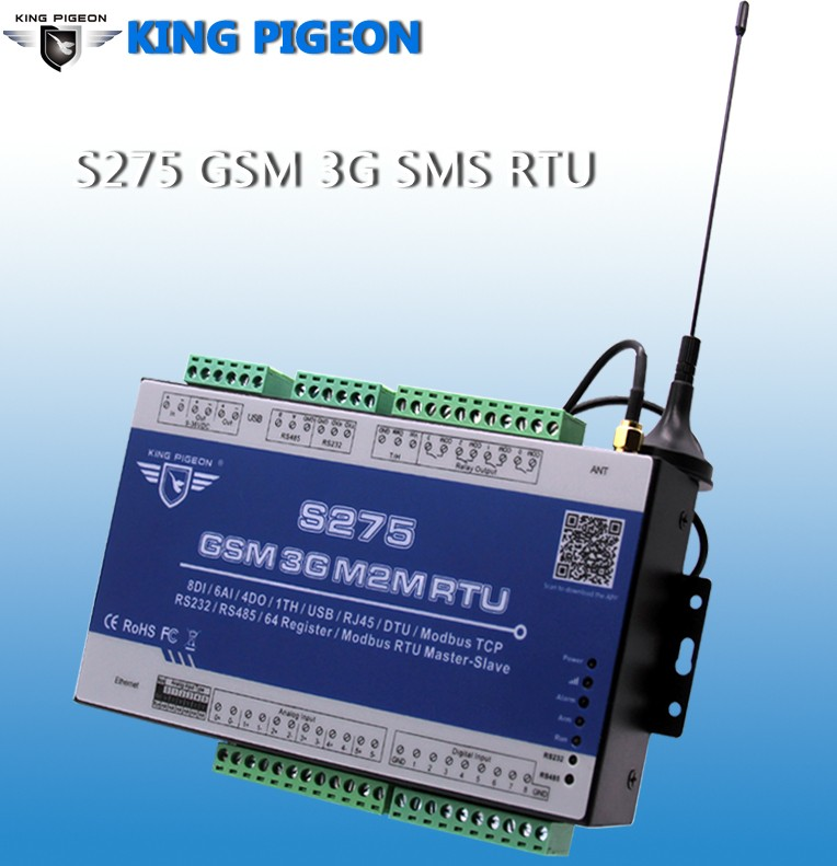 S275 <strong>GSM</strong> 3G M2M RTU (8DI+6AI+4DO+1TH+1USB+1RS232/485+RJ45+64Registers)