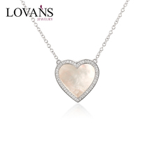 925 Sterling Silver Jewelry Wholesale Mother Of Pear CZ Heart Pendant Necklace LWN0018