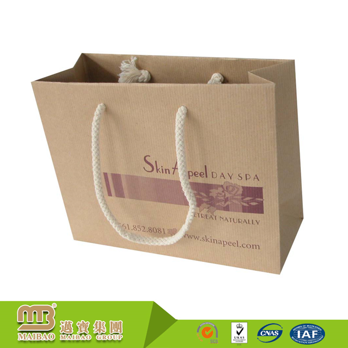 Wholesale Top Quality Reusable Promotion Custom Nylon Rope Handle Brown Kraft Paper Bag For Products