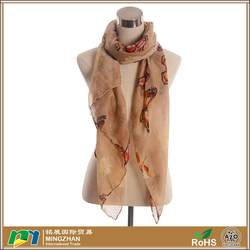 Fashionable Arab Scarf Butterflies Chiffon Ladies Scarves Voile Shawls For Sale