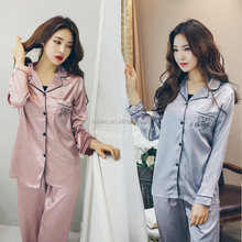 C0042 (1) Satin Mature pink/blue/grey/white colors long-sleeve pants Women's Night sleep Wear Pijamas suits for Ladies