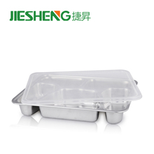 Retangular divided stainless steel fast food tray mess tray with lid