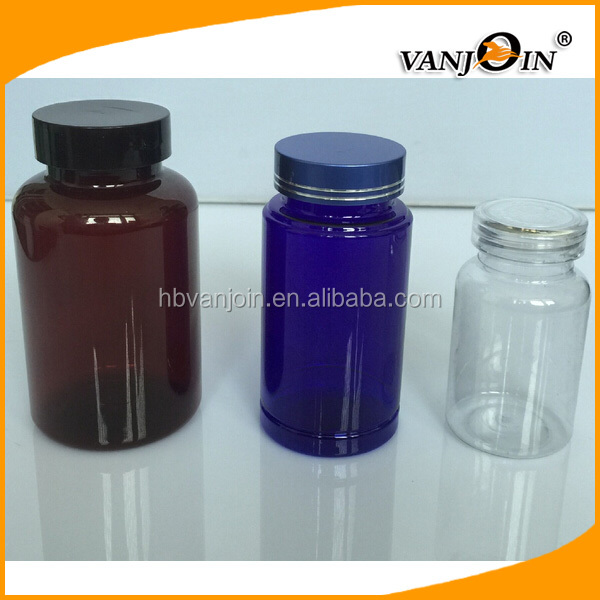 Custom health care products use amber 100ml 150ml PET child proof pill bottle