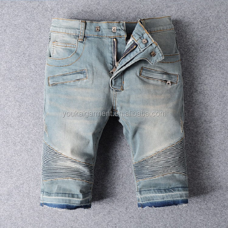 Fashion european style men high quality vantage biker jeans shorts wholesale china denim biker jeans straight half pants