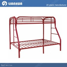 KD structure three people red metal bunk bed