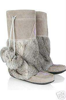 Eskimo Native Indian Mukluk Boots Mukluks Suede Grey Gray