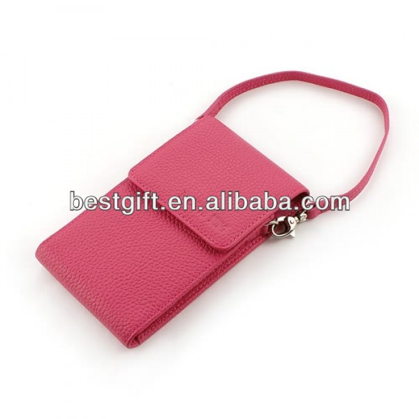 high end PU leather cell phone case with straps