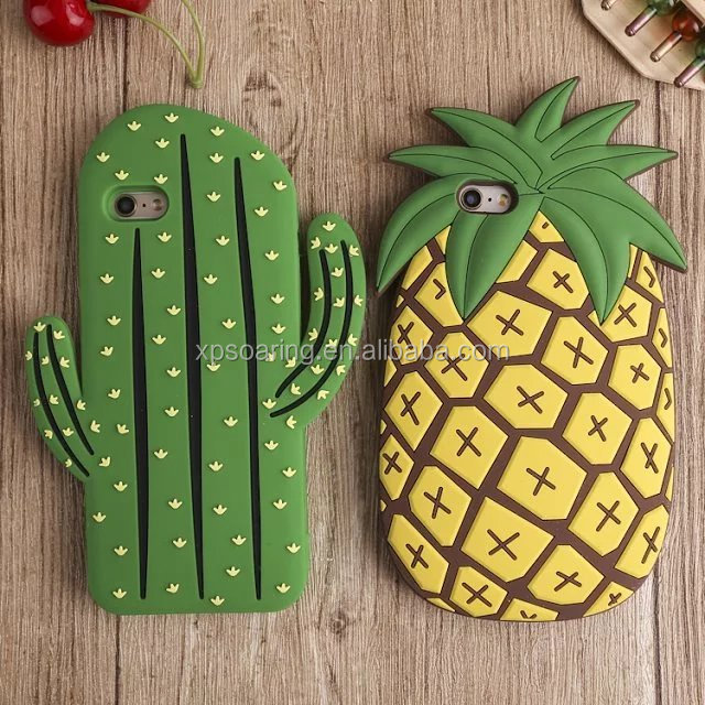 3D silicone Cactus pineapple design phone cover case for iphone 5 6 6plus,for iphone 5 6 6plus silicone case