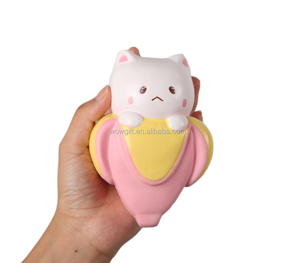 Squishies Jumbo Slow Rising Kawaii Scented Soft Banana Cat Toy For Kids or Stress Relief