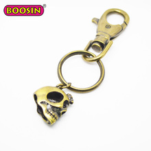 High quality custom skull head shaped gold metal keychain #12791