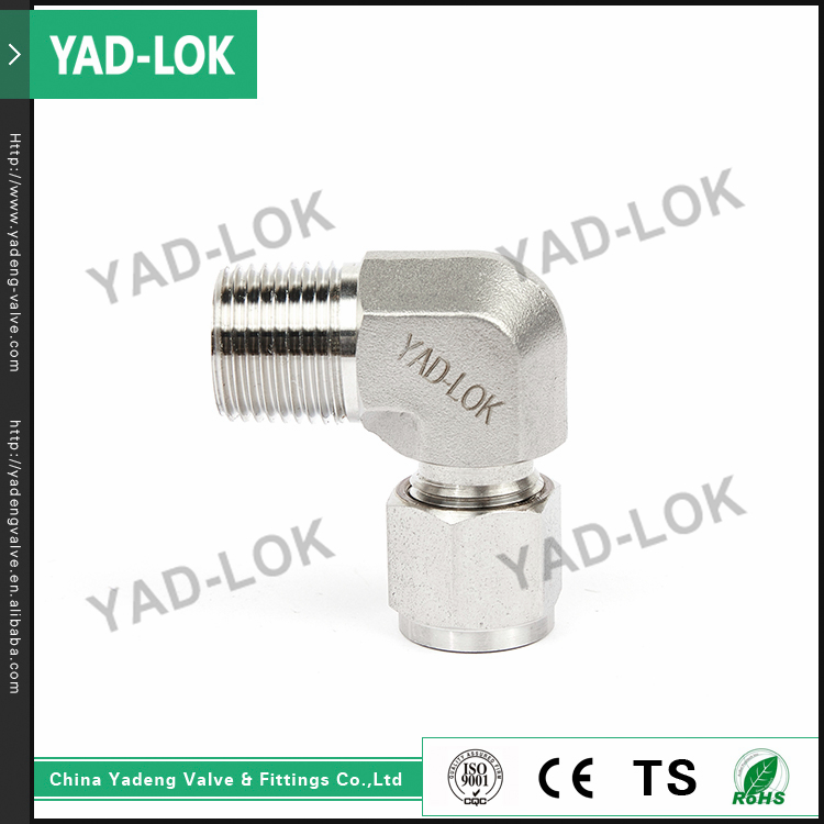 "YAD-LOK 1/2"" Compression High Pressure Male Elbow Straight Tube Fitting"