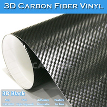CARLIKE Guarantee 5 Years Car Body Wrap Black 3D Carbon Fiber Vinyl