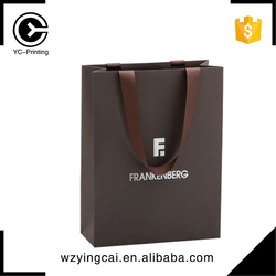 Cheap luxury brown paper gift bags with different handle types