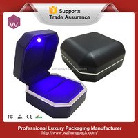 Top end PU leather luxury velvet material led ring box retail sale