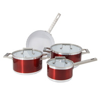 7Pcs Red Wholesale Aluminum White Nonstick Ceramic Coating Cookware