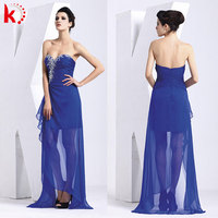 Modren off-shoulder sexy see-through long back short front chiffon royal blue formal girls wedding party dress 1149