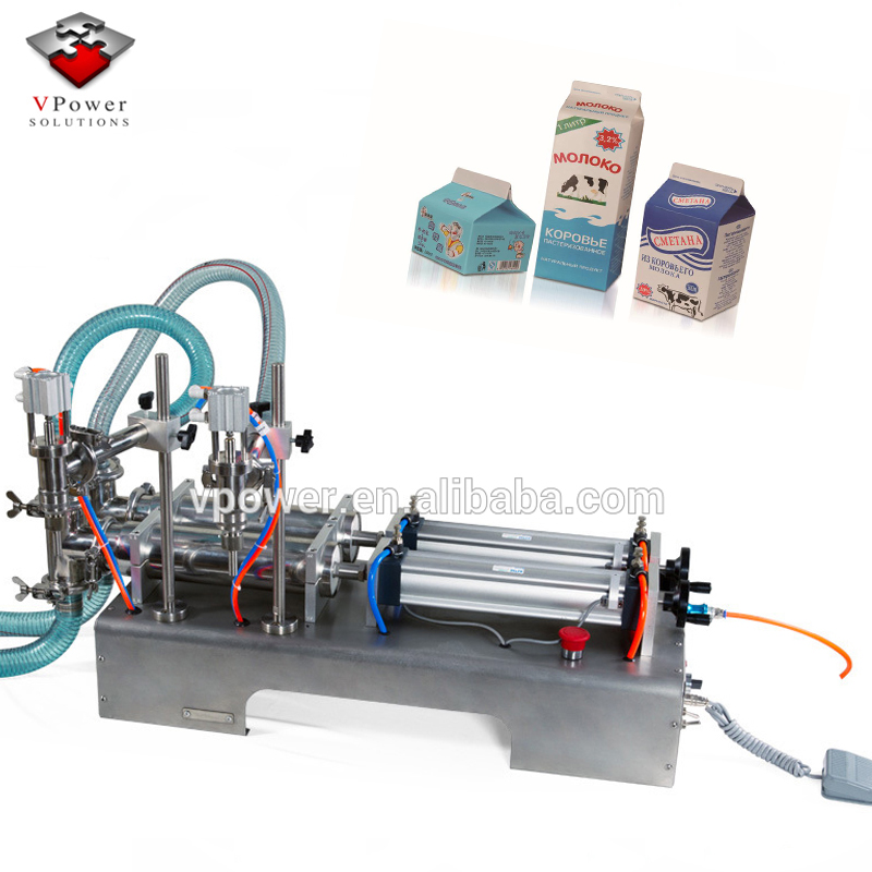 Guangzhou Factory Pneumatic Two Heads Hand Liquid Filling <strong>Machine</strong> For Yogurt, Fruit Juice,Beverages,Oil, Cosmetics, Milk