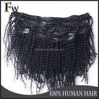 Faceworldhair afro kinky curly clip in hair extensions for black people