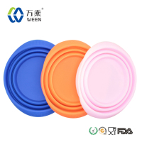 collapsible food water feeder bowl, silicone ring rubber dog bowl folded dog bowl