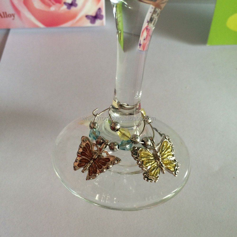 Wine Glass Charms Set of 6 Tags Markers Hand Painted Butterfly & Insects ring NEW