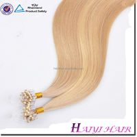 Very Thick Beautiful and Fashionable Wholesale Double Drawn 6a remy micro loop 100% european virgin hair