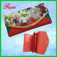 Fancy flower print PU leather woman wallet from China manufacture directly
