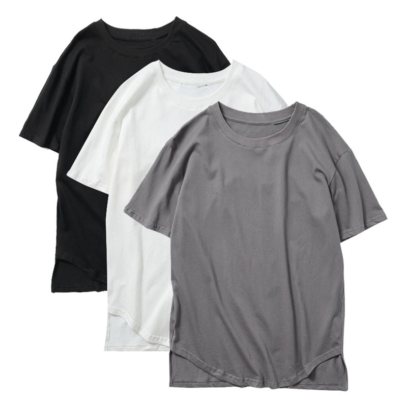 Custom Longline round neck t shirts men short sleeve solid color t shirt <strong>manufacturing</strong>