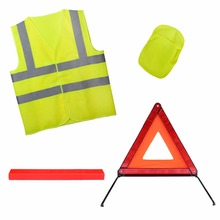 High visibility car roadway accident emergency safety kit including warning triangle and reflective safety vest