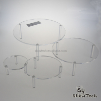 Pop design clear crystal top sale acrylic cake stands with lights ST-RATARC4T-02