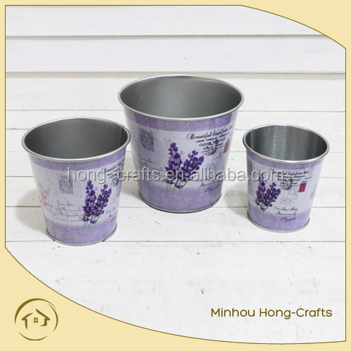 lavender design S/3 round metal flower pot for garden
