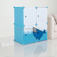 4 cubes daisy emboss patter PVC material wardrobes for small rooms FH-AL016-4