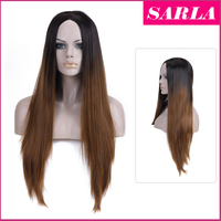 SARLA Wholesale two tone ombre syntetic hair wig black to copper red