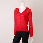 fashion ladies 55% acrylic 45% cotton knitted cardigan women